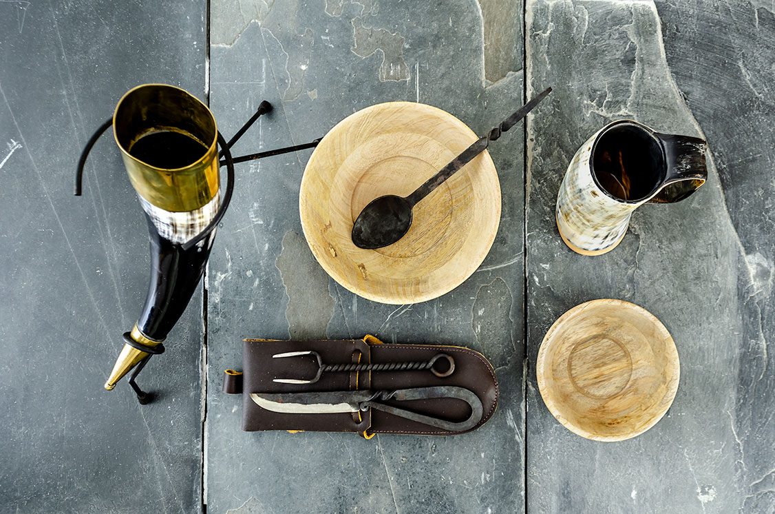 Buy drinking horn, wooden bowls, iron cutlery, and horned mug
