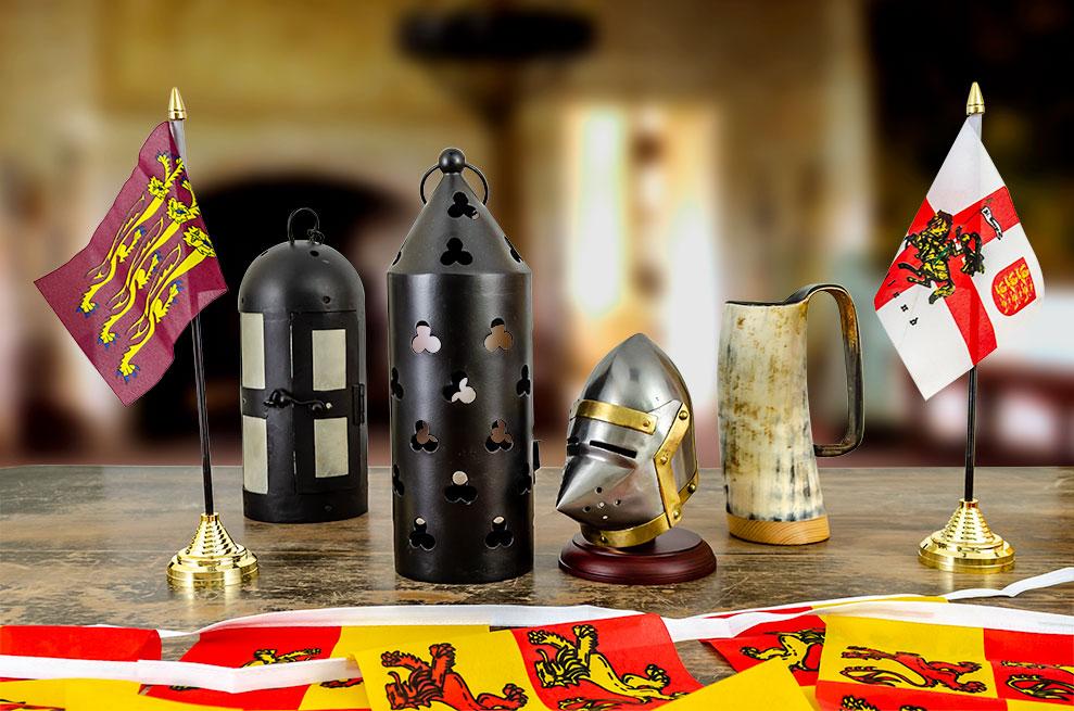 Buy Richard the Lionheart Flag, round iron lantern, decorative iron lantern, mini pigface bascinet, horn mug, and England flag